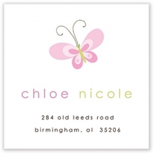Pink Butterfly Address Label