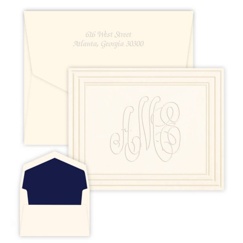 Embossed Classic Frame Monogram Note