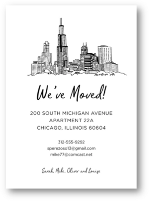 Chicago Skyline Moving Card