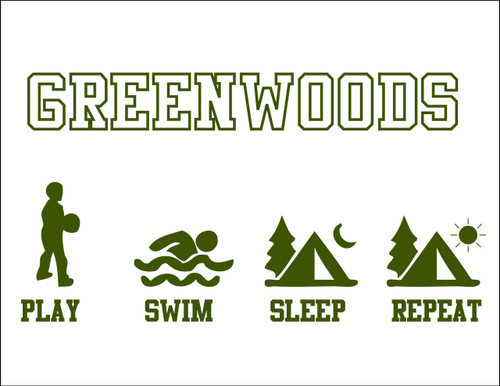 Play Swim Sleep Repeat Camp Postcard