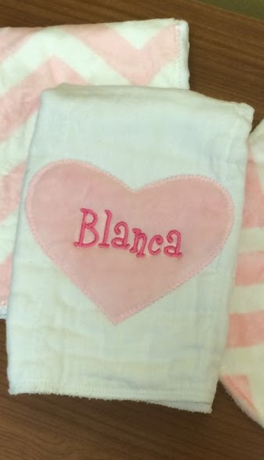 Pink Heart and Pink Chevron Minky Burp Cloth Set