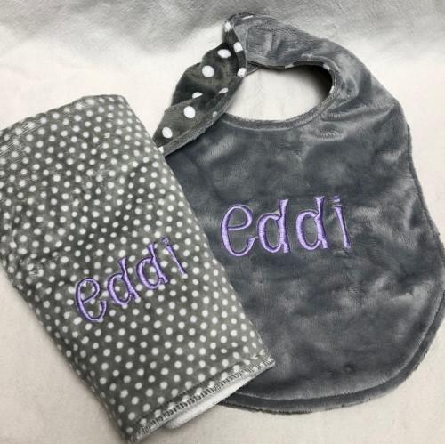 Gray Polka Dot Minky Bib and Burp Cloth Set
