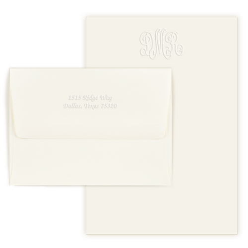 Embossed Monogram Letter Sheets
