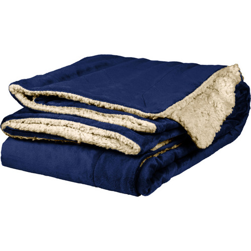 Navy Sherpa Throw Blanket
