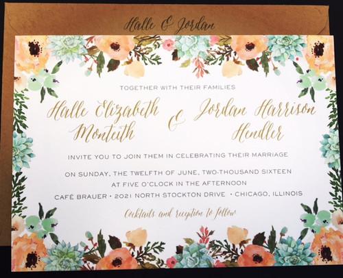 Halle and Jordan: Wedding Invitation
