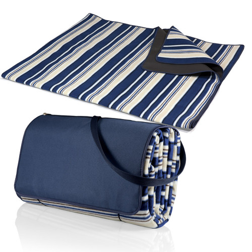 Blue Stripes XL Picnic Blanket Tote