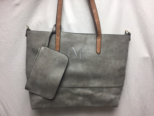 Brushed Leather 2 in 1 Tote - Assorted Colors