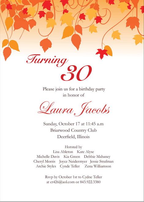 Leaf Silhouette Birthday Invitation