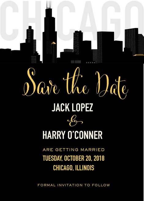 Black & Gold Chicago Skyline: Save The Date