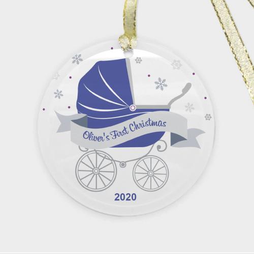 Stroller First Christmas Ornament - Blue