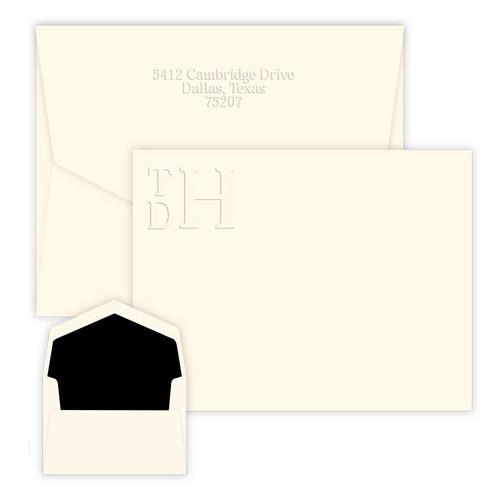 Embossed Stacked Monogram Card