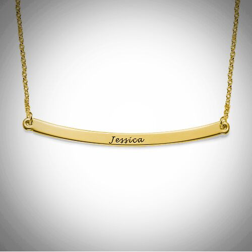 Curved Bar Necklace- Multiple Metals