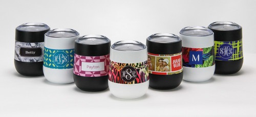 Personalized Stemless Wine Glass- Assorted Patterns