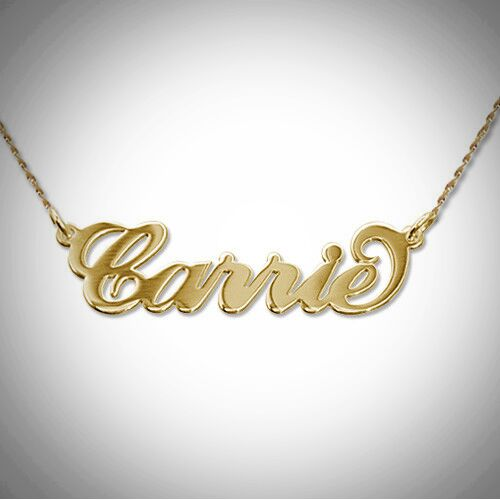 Carrie Name Necklace- Solid Gold