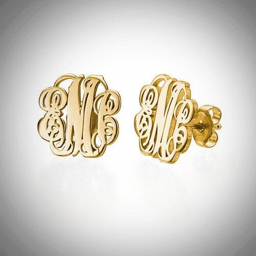 Stud Monogram Earrings- Multiple Metals