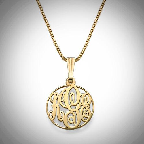 Circle Monogram Necklace- Multiple Metals