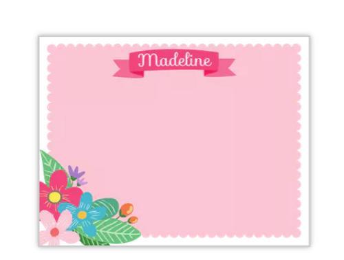 Vintage Pink Floral Banner Flat Note