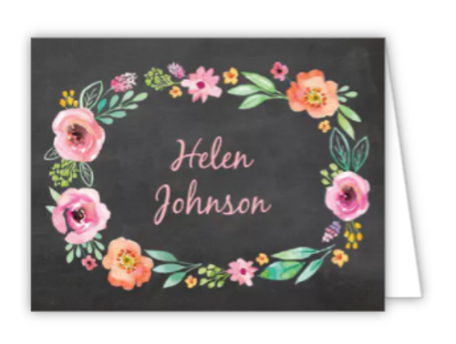 Watercolor Blossom Wreath Folded Note