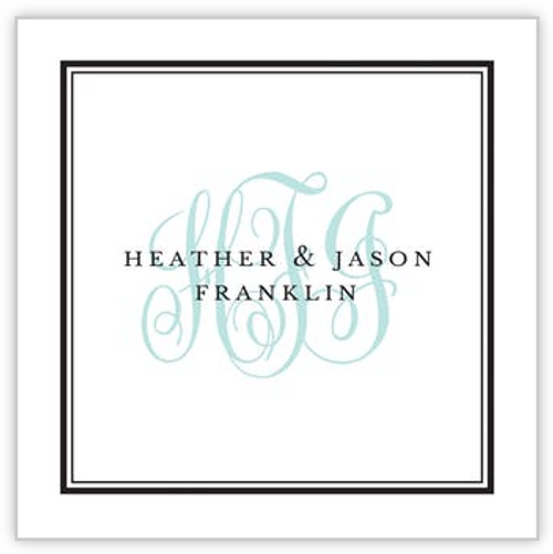 Tailored Monogram Black Square Sticker