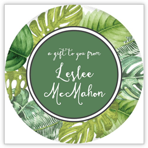 Palm Leaves Circle Sticker