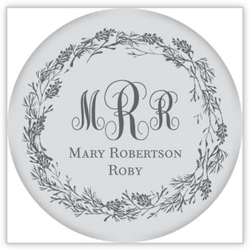 Gray Circle with Dark Gray Wreath Sticker