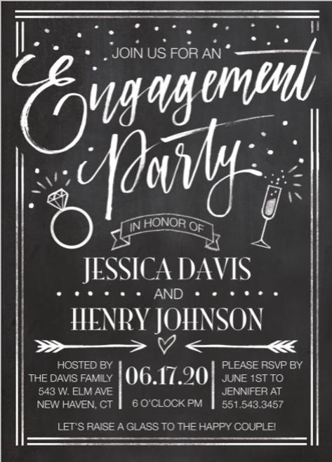 Chalkboard Engagement Whimsy Invitation