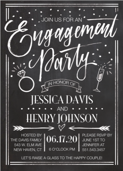 Chalkboard Engagement Whimsy Invitation