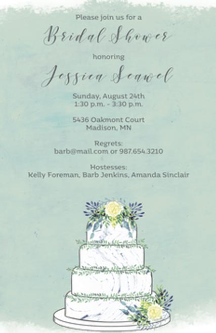 Watercolor Wedding Cake Invitation