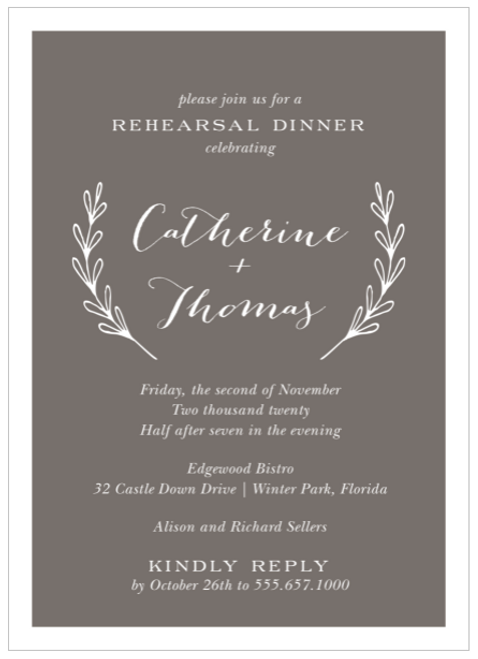 Gray Lovely Branches Invitation