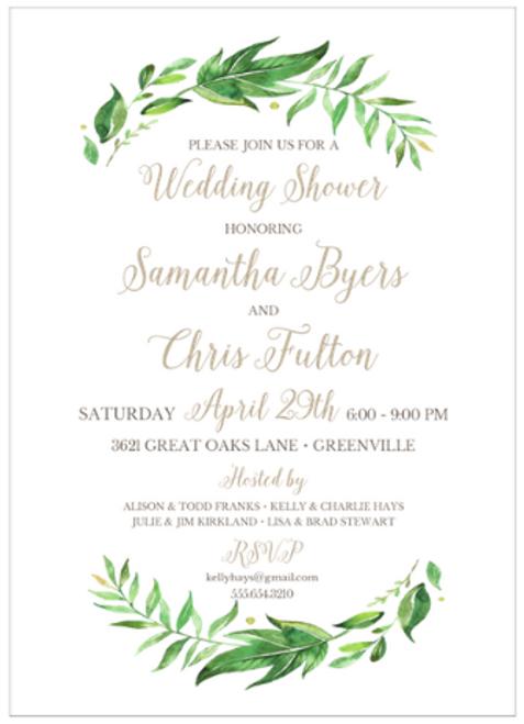 White Leaf & Vine Invitation