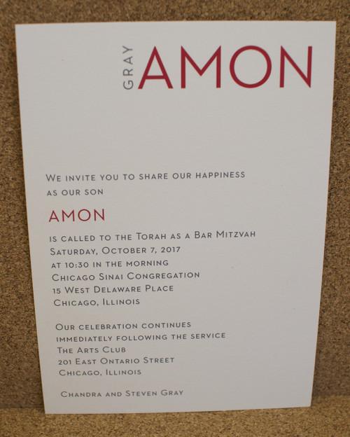 Amon: Bar Mitzvah Invitation