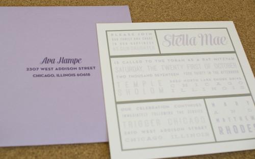 Stella Mae: Bat Mitzvah Invitation