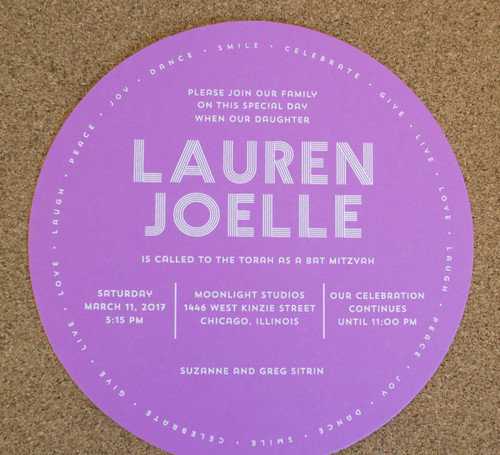 Lauren Joelle: Bat Mitzvah Invitation