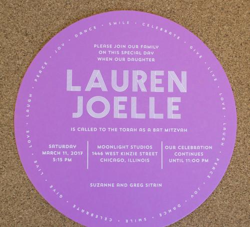 Lauren Joelle: Bat Mitzvah Invitation