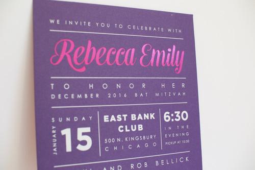 Rebecca Emily: Bat Mitzvah Invitation