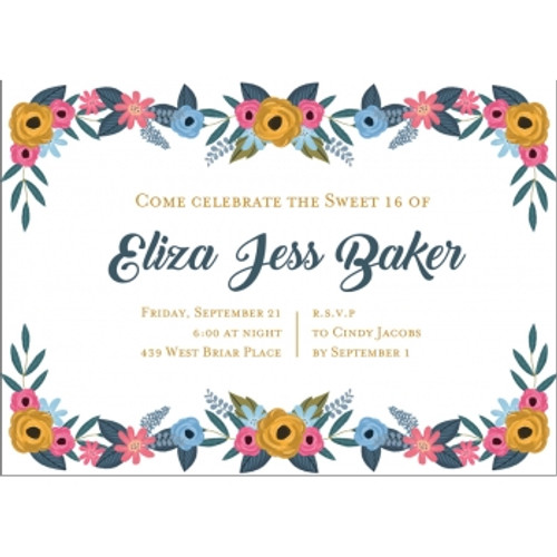 Hip Hues Floral Border Birthday Invitation