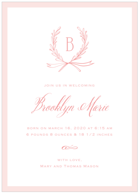 Pink Sweet Branches Birth Announcement