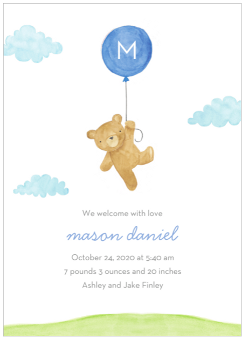 Blue Floating Bear Birth Announcement