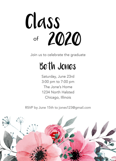 Pink Flowers Invitation
