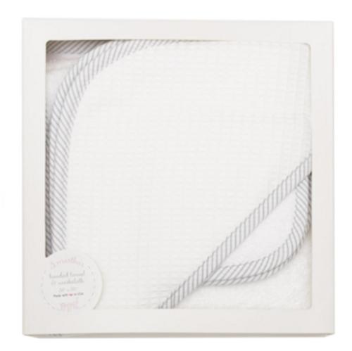 Gray Seersucker Hooded Towel & Washcloth Set