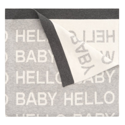 Gray Repeat Hello Baby Blanket