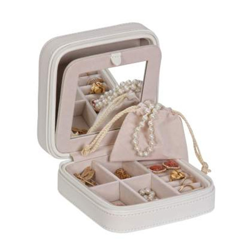 White Travel Jewelry Box