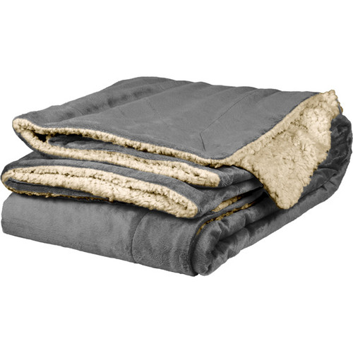 Gray Sherpa Throw Blanket