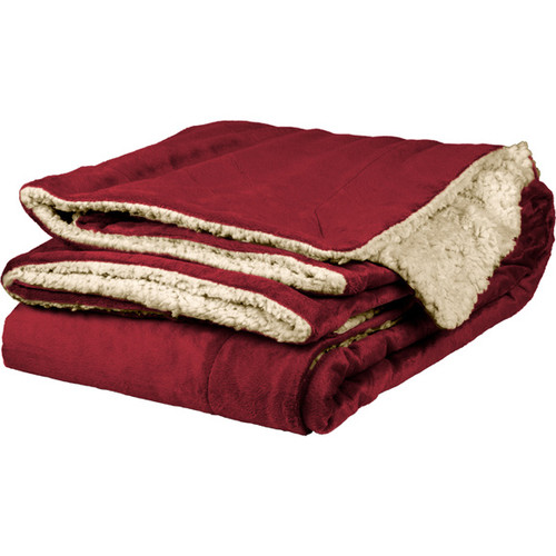 Burgundy Sherpa Throw Blanket