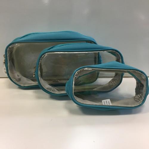 Set of 3 Aqua Cosmetic Bags