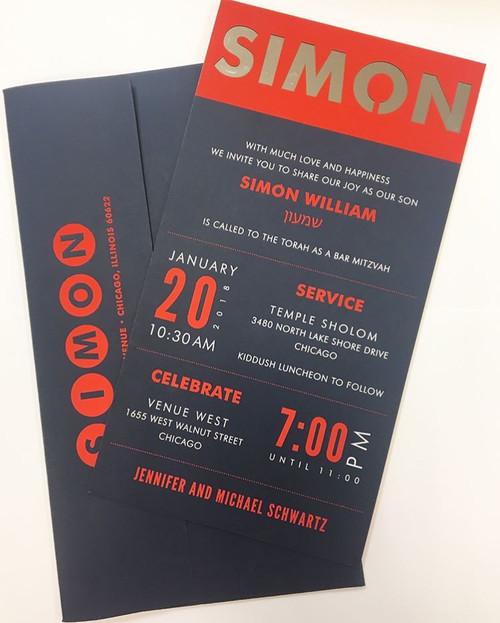 Simon: Bar Mitzvah Invitation