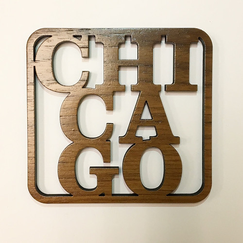Chicago Wooden Coaster Set