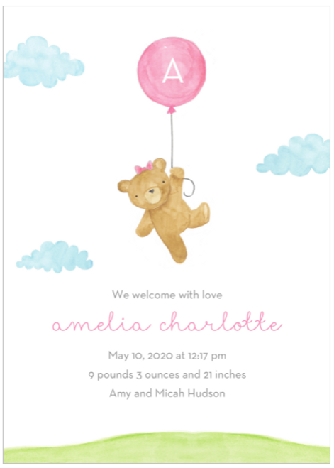 Pink Floating Bear Birth Announcement