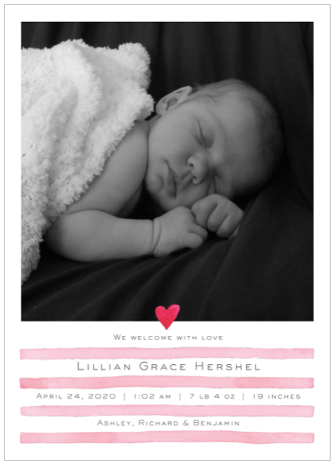Pink Painterly Stripes Birth Announcement