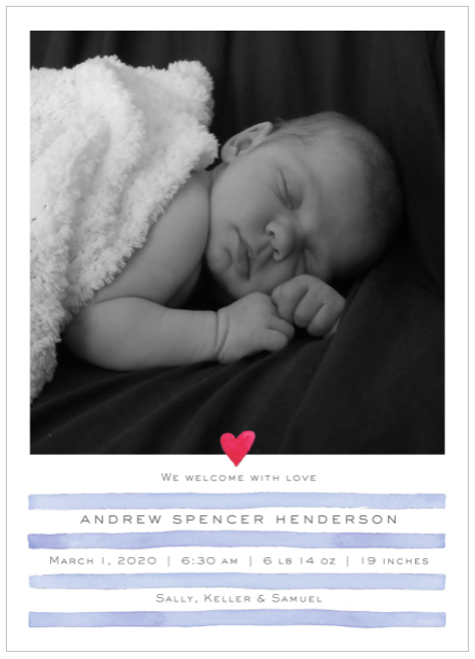Blue Painterly Stripes Birth Announcement